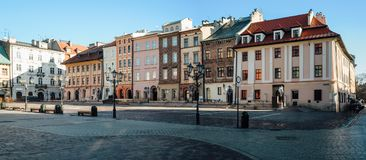 Maly Rynek in Krakow. Wide angle view of the little market square, Maly Rynek, in the old town of Krakow, Poland Stock Photography