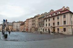 Maly Rynek square in Krakow old town, Poland. Stock Photos