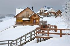 Malye Korely, Arkhangelsk region, Russia, February, 18, 2018. Tourist complex `Malye Korely` in winter stock photos