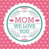 Mamá colorida le amamos emblema Elementos del diseño del vector para la tarjeta y otra de felicitación plantillas de la impresión Foto de archivo