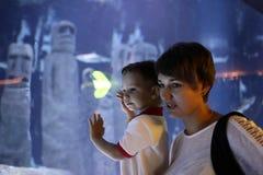 Mamá con el hijo en el oceanarium Fotos de archivo libres de regalías