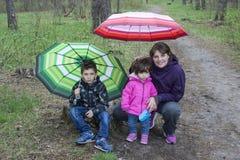 Mamá con el hijo y la hija que se sientan en el bosque debajo de los paraguas Imagenes de archivo