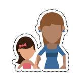 Mamá de la historieta con la hija stock de ilustración