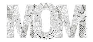 Mamá de la palabra para colorear Objeto decorativo del zentangle del vector Fotografía de archivo