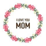 Mamá del amor de la letra del ejemplo del vector con el marco floral de la hoja circular libre illustration