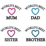Mamá del ` s del mundo la mejor, papá, hermana, hermano stock de ilustración