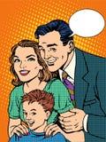 Mamá e hijo felices del papá de la familia Imagen de archivo