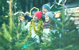 Mamá, papá joven e hija comprando el árbol del Año Nuevo Imagen de archivo libre de regalías