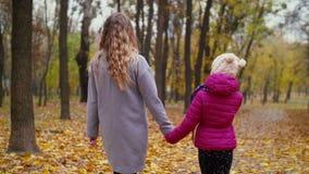 Mamá y niña que pasan ocio en parque del otoño almacen de metraje de vídeo
