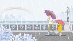 Mamá y niño en el día lluvioso scenery-EPS10 stock de ilustración
