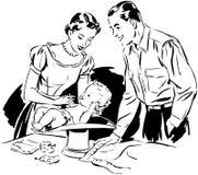 Mamá y papá que pesan al bebé stock de ilustración