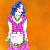 Mamã 50 anos com o bolo recentemente cozido com cerejas e chantiliy ilustração royalty free