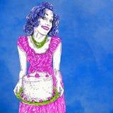 Mamã 50 anos com o bolo recentemente cozido com cerejas e chantiliy ilustração do vetor