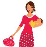 Mamã bonita com seu bebê recém-nascido Fotos de Stock Royalty Free