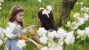 Mamã com um jardim pequeno do suco de laranja da bebida da filha na primavera vídeos de arquivo