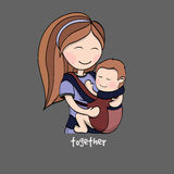 Mamã com uma criança em um portador de bebê Fotografia de Stock Royalty Free