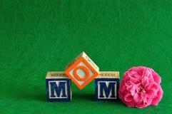 A mamã da palavra soletrada com blocos do alfabeto Fotografia de Stock