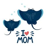 Mamã do amor dos peixes i da arraia-lixa ilustração royalty free