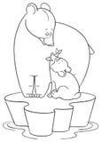 A mamã do urso da extremidade do urso do bebê Imagens de Stock Royalty Free