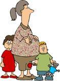 Mamã e 2 miúdos ilustração do vetor