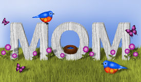 Mamã e azulão-americano Fotos de Stock