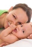 Mamã e bebê felizes Imagem de Stock Royalty Free