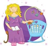 Mamã e bebê na noite ilustração royalty free