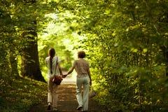 Mamã e filha que andam no parque imagem de stock royalty free