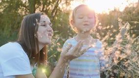 Mamã e filha que têm o divertimento e que fundem sementes do dente-de-leão ao relaxar na natureza