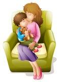 Mamã e miúdo ilustração stock