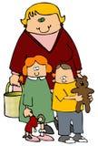 Mamã e miúdos ilustração royalty free