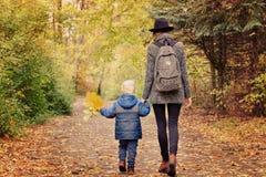 A mamã e o filho estão andando na opinião da floresta do outono da parte traseira fotos de stock