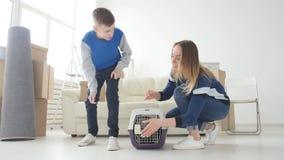 A mamã e o filho novos com seu gato estão transportando-se a um apartamento novo