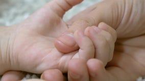 A mamã está guardando a mão de pouco bebê Cuidado materno para a criança pequena Close-up video estoque