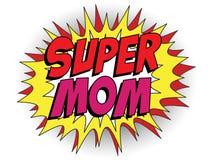 Mamã feliz do super-herói do dia da mãe Foto de Stock