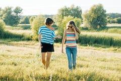 Mamã feliz e filha adolescente que sorriem e que falam Passeio na natureza em um dia de verão ensolarado fotos de stock