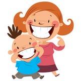 Mamã feliz e filho que sorriem mostrando seus dentes ilustração stock