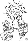 Mamã forçada em casa - preto e branco Fotos de Stock