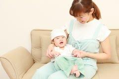 Mamã japonesa e seu bebê Fotografia de Stock Royalty Free