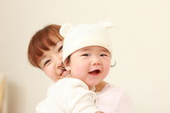 Mamã japonesa e seu bebê Foto de Stock Royalty Free