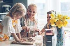 Mamã que cozinha com as crianças na cozinha imagem de stock royalty free