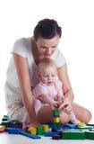 Mamã que joga com bebê Fotografia de Stock