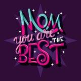 Mamã você é o melhor, dia feliz de Mother's, mão rotulando o projeto moderno do cartaz da tipografia foto de stock royalty free