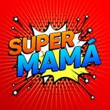Mamãe super, texto espanhol da mamã super, celebração da mãe Foto de Stock Royalty Free