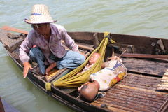 Mam with childrens on Tonle lake Stock Images