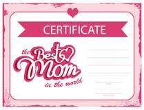 Mamã do certificado do vetor do molde a melhor no mundo Uma vale-oferta para o dia de mães Um molde do diploma Fotos de Stock Royalty Free