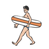 Mam holding surf board. Man holding surf board walking Royalty Free Stock Photos