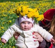 Mamá que detiene a la hija del bebé una niña con un ramo de flores de dientes de león en la cabeza que intenta los primeros pasos Fotos de archivo libres de regalías