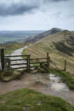 Mam Tor Autumn landscape in morning in Peak District Stock Images