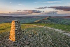 Mam Tor. Sunset at Mam Tor, Peak District, Derbyshire, England Stock Image